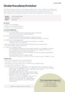Vacatures 2021 - Onderhoudstechnieker